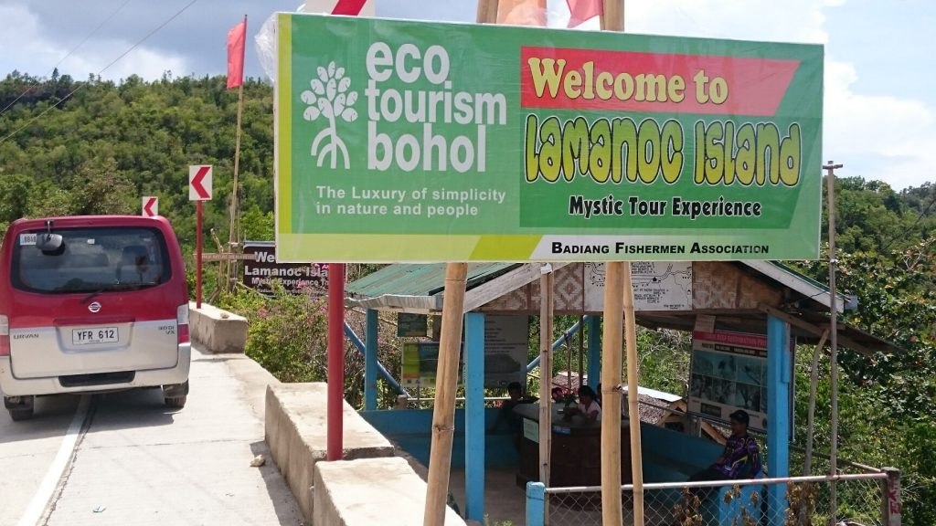 Lamanoc island tourist welcome sign